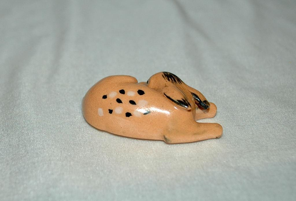 Small Resting Fawn Pottery Figurine