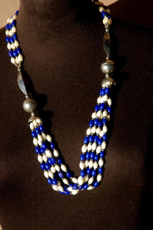 Ethnic Multi Strand Necklace of Blue Dyed Bone, Natural Bone and Silver Beads