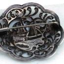 Antique Dutch Harbor Silver Repousse  Brooch Pin with Sailboat and Windmill Scene