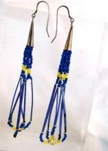 Native American Sterling  Beaded and Porcupine Quill Earrings