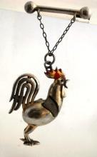 Vintage  Rooster Brooch Pin of Silver with Leather Wings 3 dimensional  Whimsical