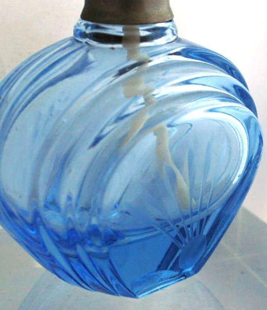 Blue Etched Glass Perfume Bottle -Finland Glass