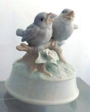 Otagiri made in Japan music box bird with Two Singing Birds and Flower