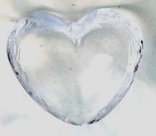 Simon Pearce Highgate Crystal Glass Heart  , Signed