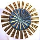 Vintage JEANNE  Brooch Starburst Cut Glass  Blue  Center Stone