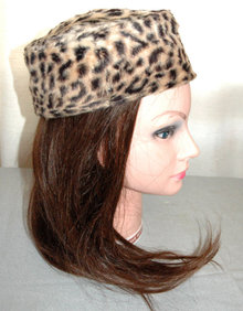 Leopard Fur Pill Box Hat