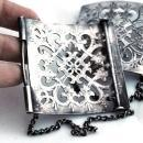 Large Silver Open Work  Belt Buckle, Antique with Chain