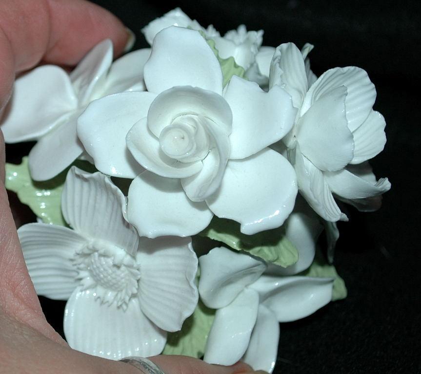 Crown Staffordshire England Fine Bone China White Flower Bouquet in White Pot