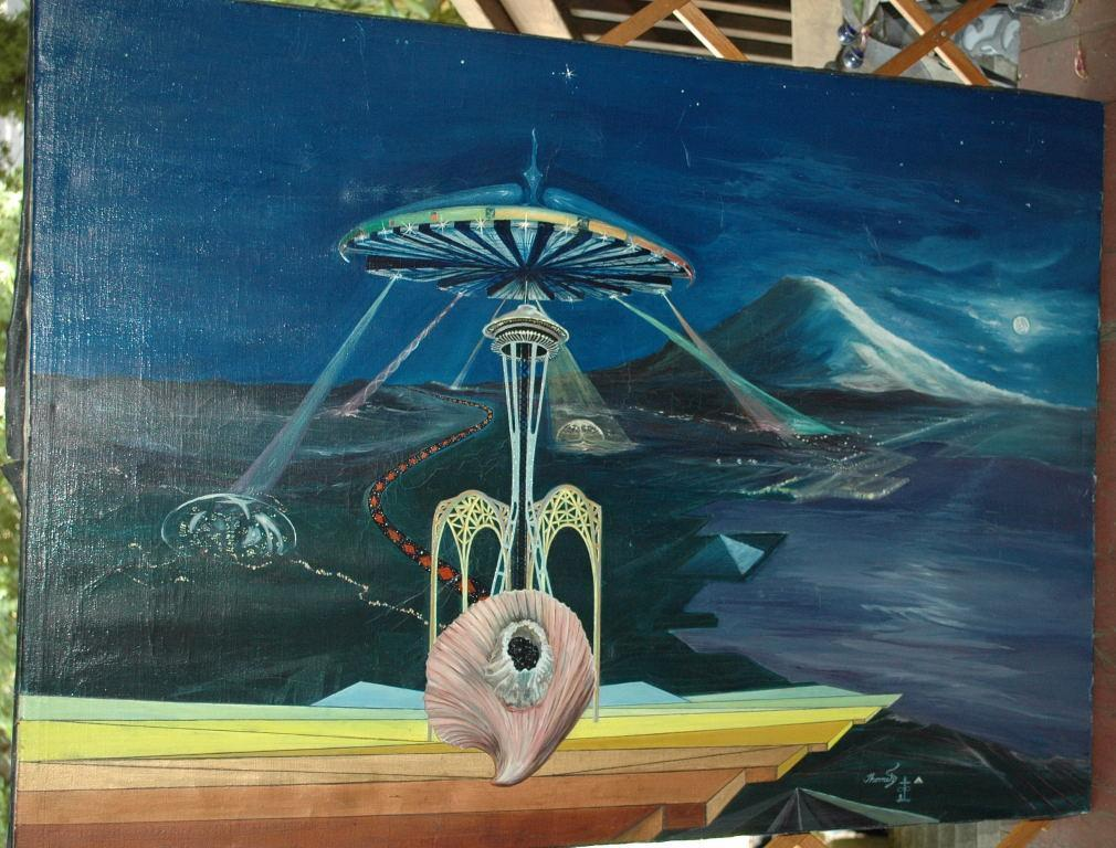 Very Large Original  Painting Surrealist , Space, Space Needle Seattle, Seashell Signed  Thomeh S.