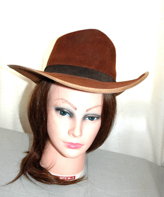 Very cool  Hippie chic  Rough side out suede leather fedora Cowboy hat  size 6 7/8