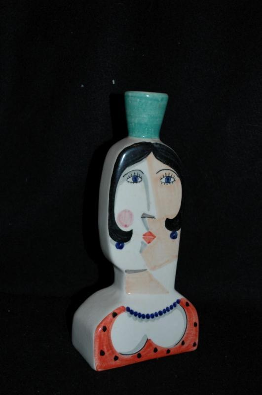Botella Benlloch s. alg España mujer cubista    ( Cubist Woman Bottle Vase from  Algiers Spain)