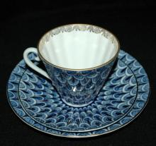 Lomonosov Cobalt Tea cup,saucer and luncheon plate Russian Porcelain USSR 1970's