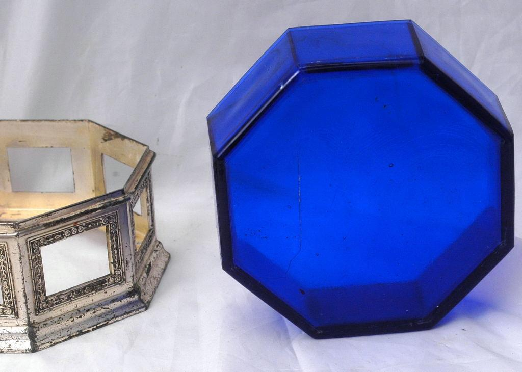 Silver with Cobalt Blue Glass Box -Octagonal- Trinket or Candy Container