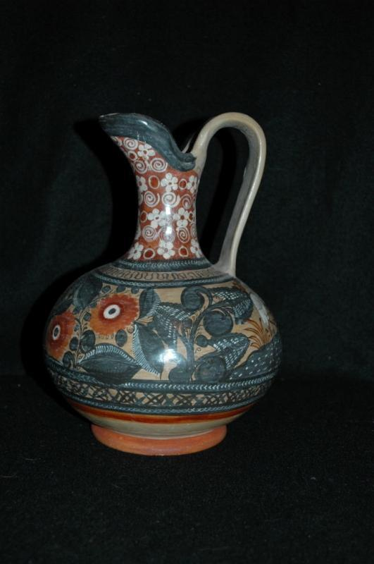 Hand Painted Burnished Mexican ewer  Tonala  Exquisite