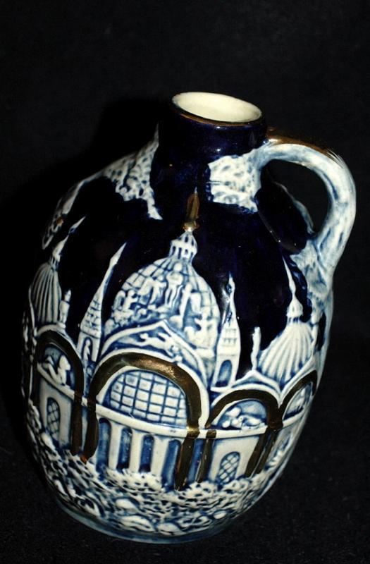 Old German Porcelain Pottery Jug Music Box