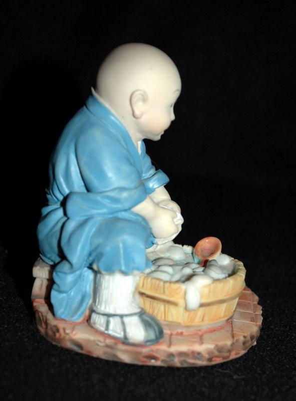 Hand Made Chinese Monk Seated, Washing Dishes   Artist Signed