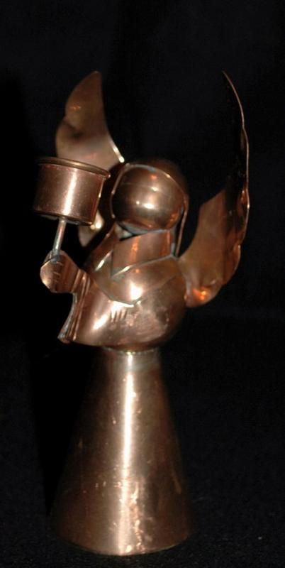Hand Crafted Copper Angel Candle Stick Holder, Made in Mexico