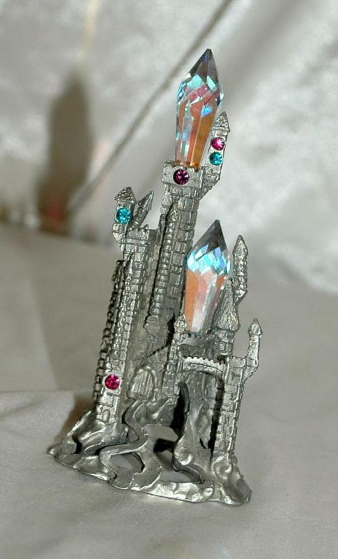 Comstock Pewter Crystal Castle, Artist Signed