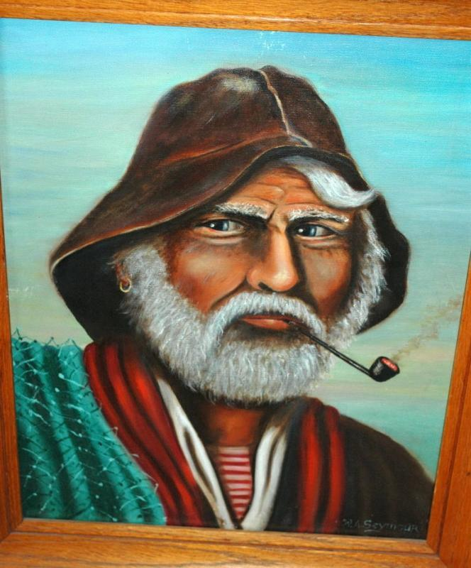 Original Old Fisherman Oil Painting  on Canvas signed W.A. Seymour