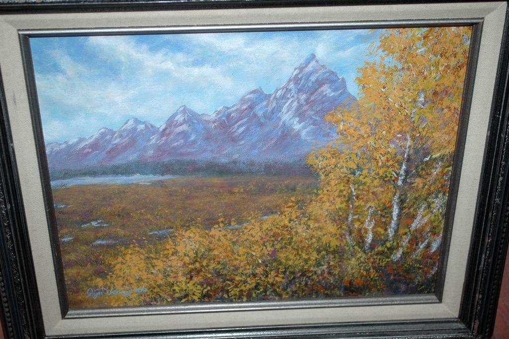 Grand Tetons in Autumn Signed Acrylic Painting Ryan Perry