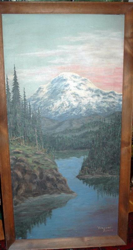 Large Painting of Mount Rainier Oil on Canvas Signed and Framed