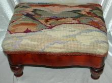 Nice Old Foot Stool with Mountian  Landscape Tapestytry