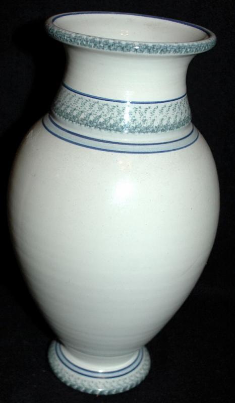 Stoneware  Urn Style Pottery Vase, Hand painted with Irises