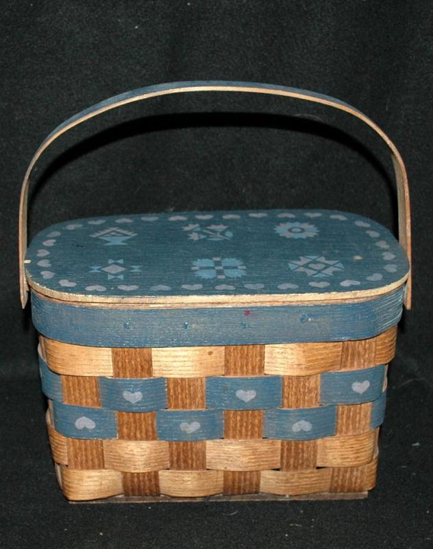 Vintage Hand Crafted Oak Carrying Basket with Lid and Handle  from Bremerton WA