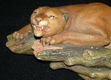 Rare Bossons Chalkware PUMA Mountain Lion Figurine On Limb