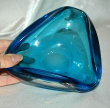 Heavy Blue Blown Glass  Triangle Bowl   or Ashtray  Murano?