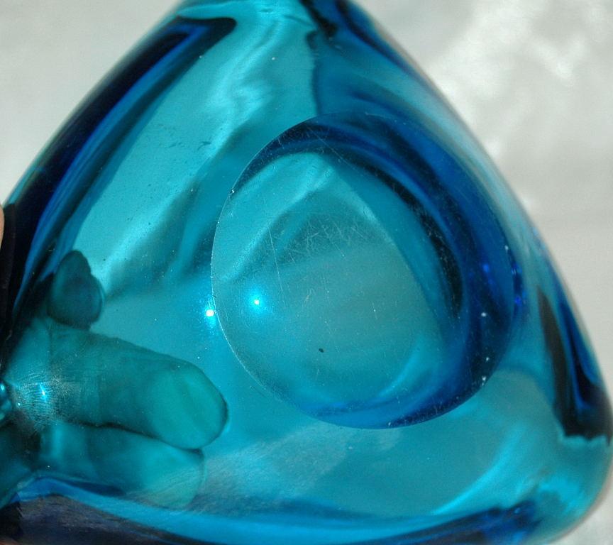 Heavy Blue Blown Glass  Triangle Bowl   or Ashtray  Murano?