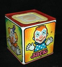 Vintage  Tin Litho Jack in the Box , Clown    by Mattel