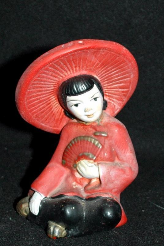 Antique Chalkware Sitting Chinese Lady Figure, Made in USA