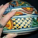 Very Old Talavera Lidded Bowl with Scalloped Edges  Old Mexican Pottery