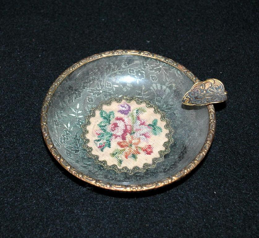 Beautiful  Fine Needle Point  and Tapestry Glass Lined Ashtray