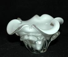 Murano Cased Glass White  Bowl Lobed Ruffles