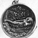Antique Sterling Silver Locket with Reclining Lady  on the Moon- European Hallmarked / Art Nouveau