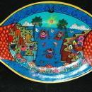 Mexican Talavera Fish Plate Wall Plaque signed Tiito  Rutilo