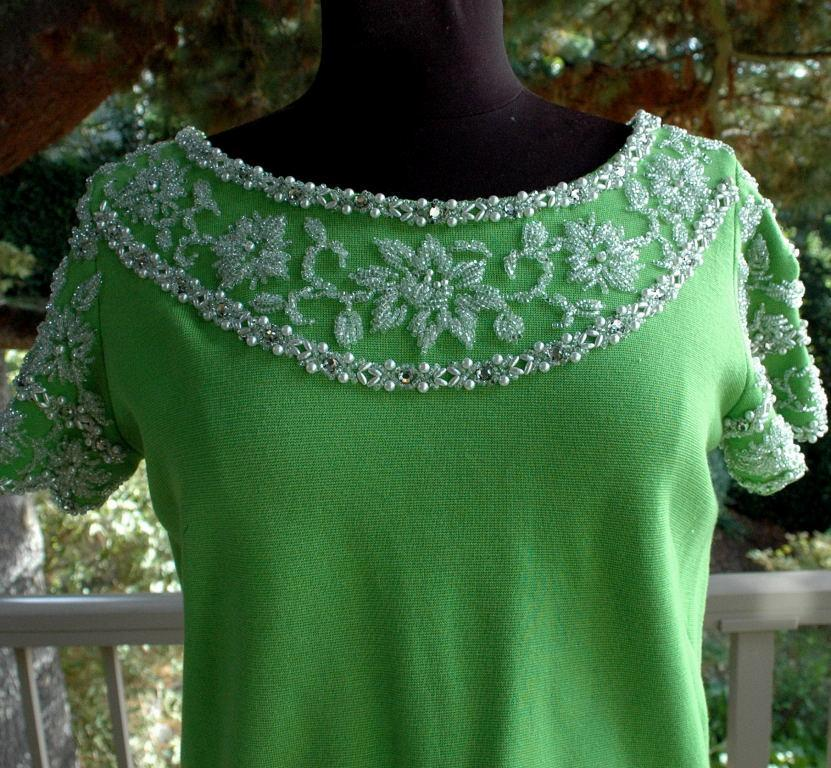 Vintage Heavily Beaded Wool Knit Top by Palio  of Hong Kong