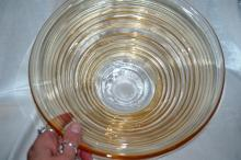 Blown Glass Serving or Fruit Bowl   Peach - Amber glass with Rings