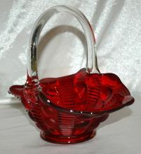 Red Art Glass Basket with Applied Clear Handle with D F Marked on Handle