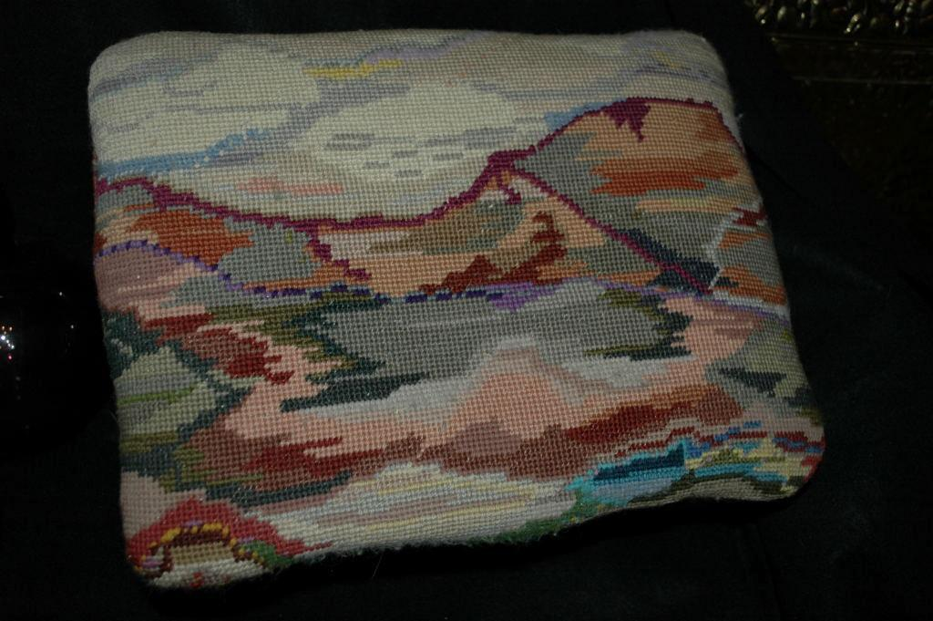 Nice Old Foot Stool with Mountain  Landscape Tapestry