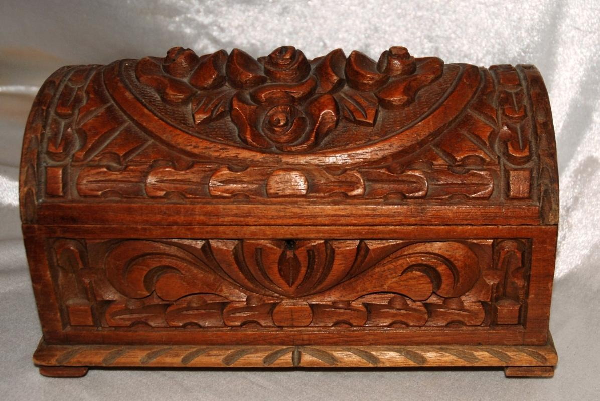 Old Mexico Carved Wood Dome Top Box