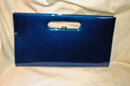 Vinyl  Clutch Purse Rich Parrot Feather Blue