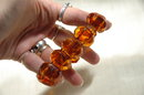 Big Chunky-Faceted  Amber Links Bracelet