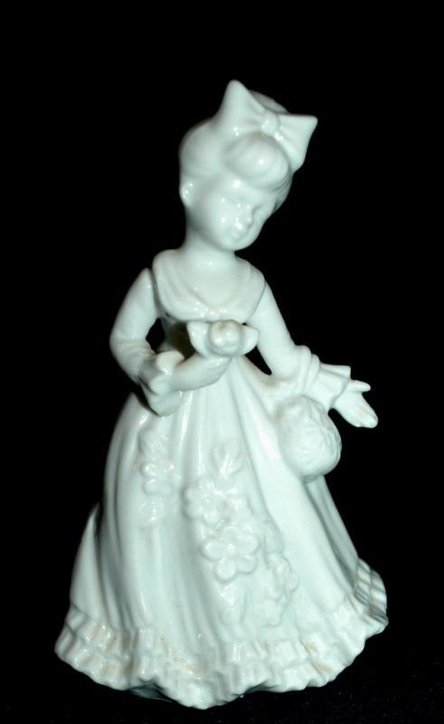 Lefton By Marika White Porcelain Girl with Purse