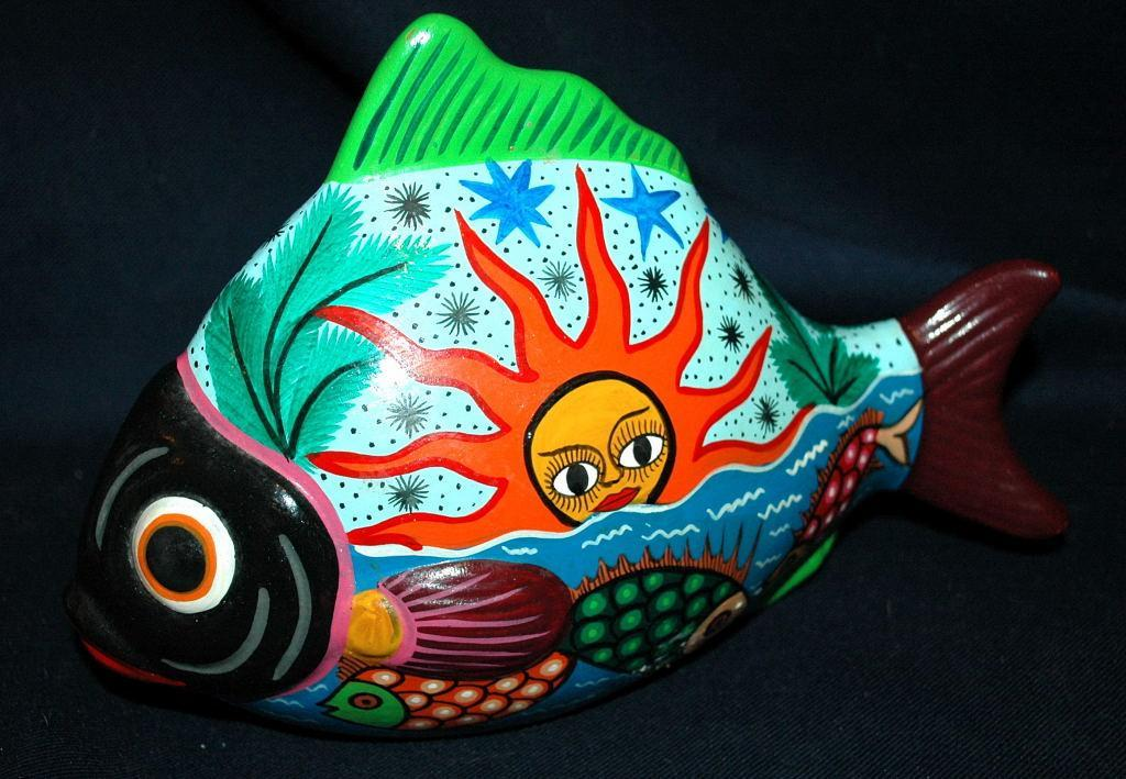 Mexican Talavera Story Fish Sun Pottery Sculpture Decor Hand Painted