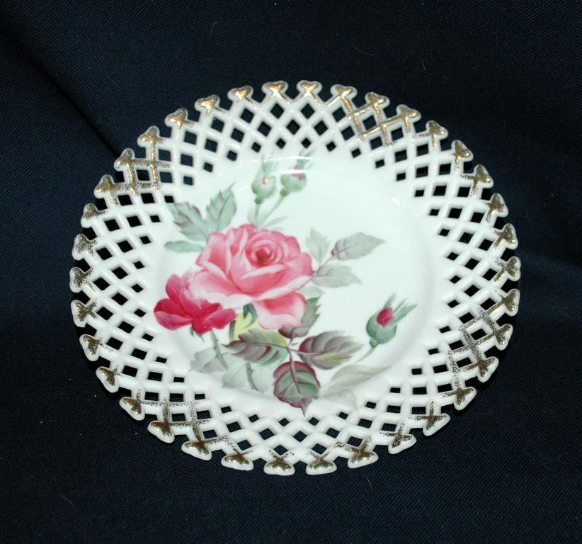 Lefton Reticulated  Plate with Hand Painted Rose and Buds