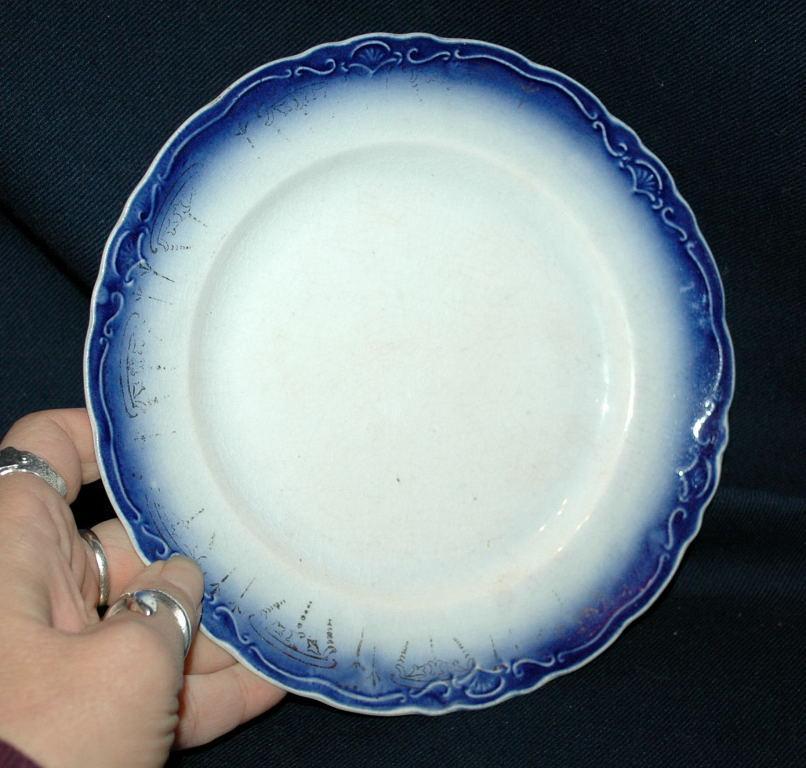 La Francaise Porcelain Flow Blue Plate