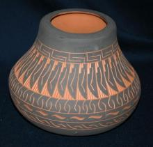 Incised Navajo Indian Pottery Vase Signed Woods & Numbered